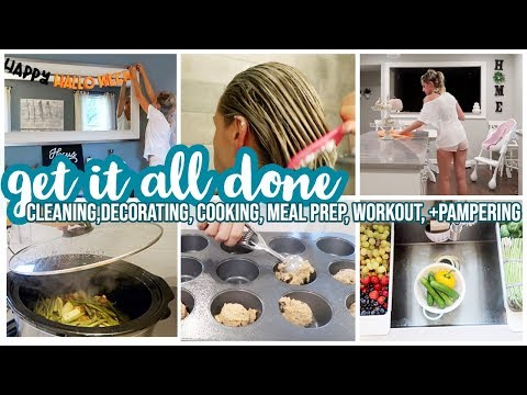 GET IT ALL DONE! CLEAN WITH ME, DECORATE FOR HALLOWEEN, MEAL PREP, GROCERY HAUL + PAMPERING