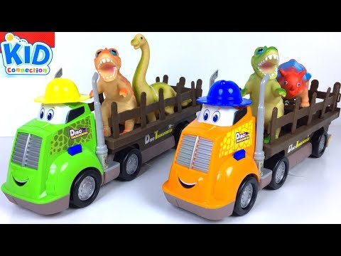 KID CONNECTION COLLECTION - DINO TRANSPORTER WITH T-REX DINO ATTACK PLAYSET & PRESCHOOL TRAIN TRACKS
