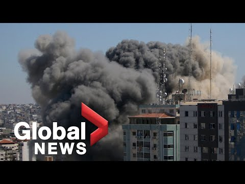Israeli airstrike in Gaza destroys highrise building housing media offices, residents