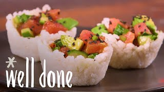 How To Make Ahi Sushi Cups: Light Party Appetizer Recipe | Recipe | Well Done