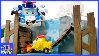Help! The Bridge Was Broken By The Typhoon! Robocar Poli Car Toy Video For Kids [Jjtoy Tv]