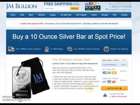 Silver at Spot!  10 oz bar from JM Bullion: 1 Per Household