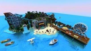 Карта Minecraft - Огромный остров развлечений в майнкрафт!