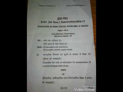 B  Ed first semester question paper, Education In India Status Problems &  Issues