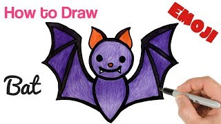 How to Draw Bat Halloween Emoji | Drawing and Coloring Art Tutorial