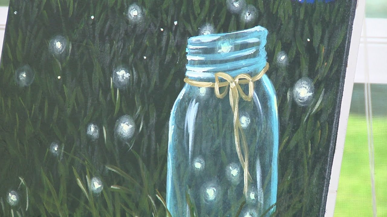 Firefly Jar Art Fireflies In Mason Jar Painting Lesson