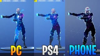 FORTNITE GALAXY SKIN GRAPHICS COMPARISON! PS4 VS PC VS PHONE!