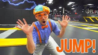Learn With Blippi at an Indoor Trampoline Park | Learn About Animals That Jump | Blippi Videos