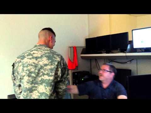 Soldier Surprises Dad at Work