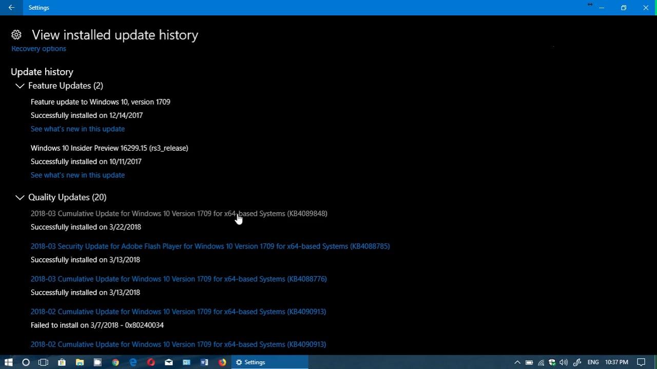 Windows 10 Versions 1607 1703 and 1709 Fall Creators update Cumulative  update March 22nd 2018