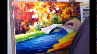 Repeat youtube video Leonid Afremov paint Little Bridge oil painting