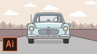 Illustrator Tutorial - Car Landscape Flat Design (Illustrator Flat Design Tutorial)