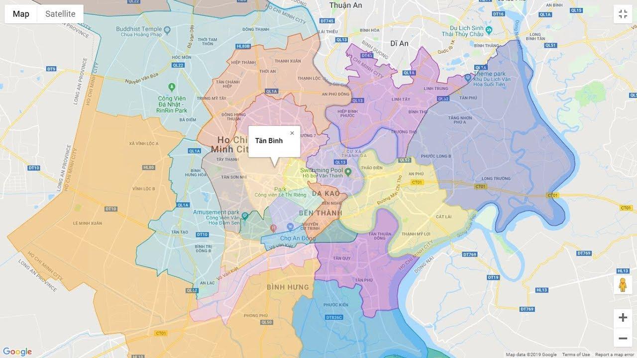 Bản đồ các quận TP HCM