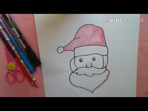Line Drawing Santa Face : How to draw santa claus face easy for