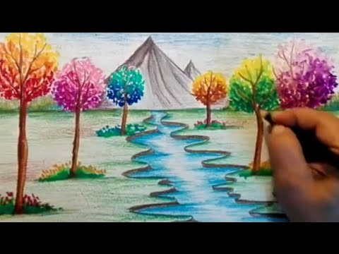How to draw spring season scenery/ How to draw river ...