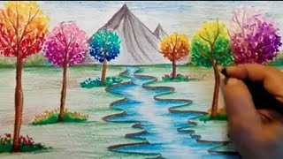 How to draw spring season scenery/ How to draw river landscape for kids