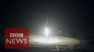 SpaceX rocket in historic upright landing - BBC News