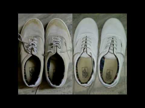 02817f183b0c White shoe polish at home DIY easily best results looks like new shoes Vans  Nike all cloth shoes
