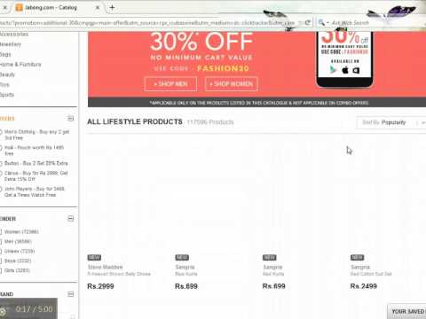 1f619946d How to use Jabong Coupon code for Online Shopping in India - YouTube