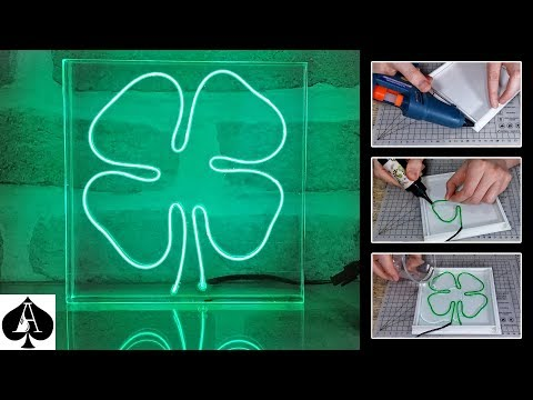 Neon Effect EL Wire in Epoxy Resin | Four Leaf Clover | Night Light Tutorial
