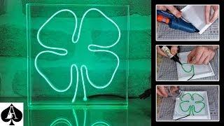 Neon Effect EL Wire in Epoxy Resin | Four Leaf Clover | Night Light Tutorial