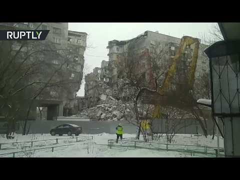 Demolition of apartment block following deadly blast in Russia's Magnitogorsk