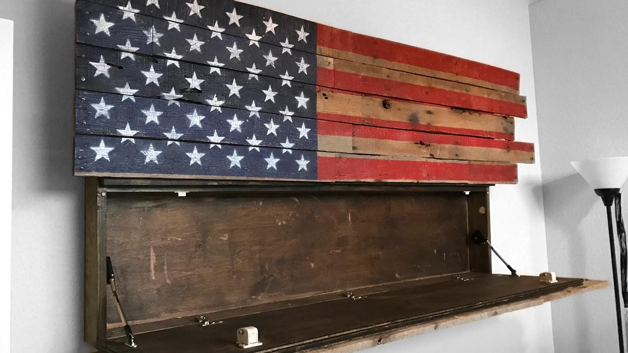 an american flag gun cabinet