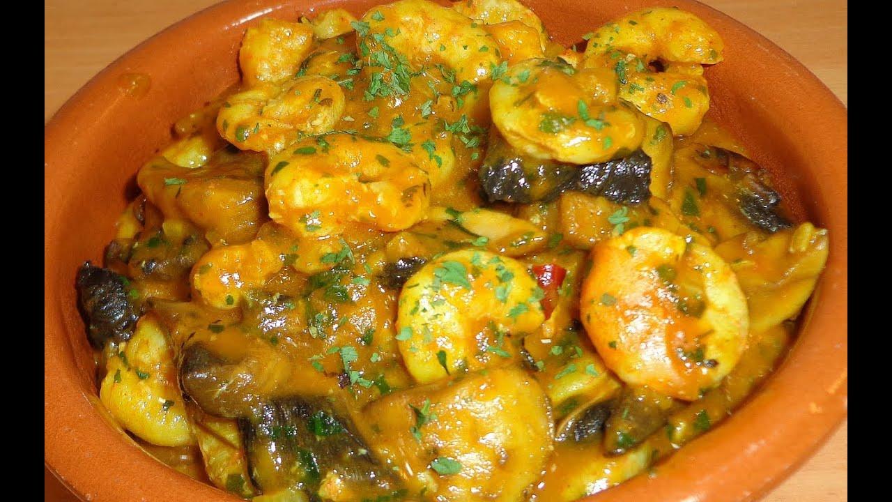 Gambas en salsa de ajos con champi ones facil y rapido - Espaguetis con gambas y champinones ...