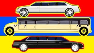 street vehicles limousine learn transport cars and trucks for kids video for children