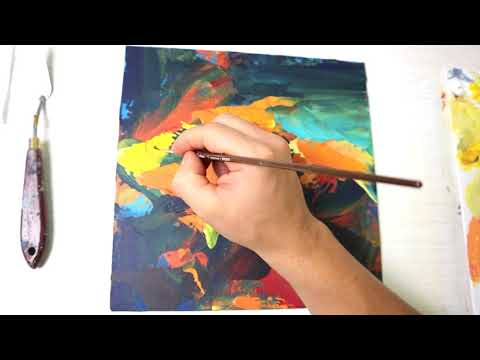 Fish Satisfying Abstract Art | Acrylic and oil Painting | Daily Art challenge #54