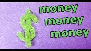 Rainbow Loom: DOLLAR / MONEY SIGN Charm - how to make loom bands