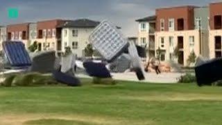 Wind Blows Dozens of Air Mattresses Through Park In Denver