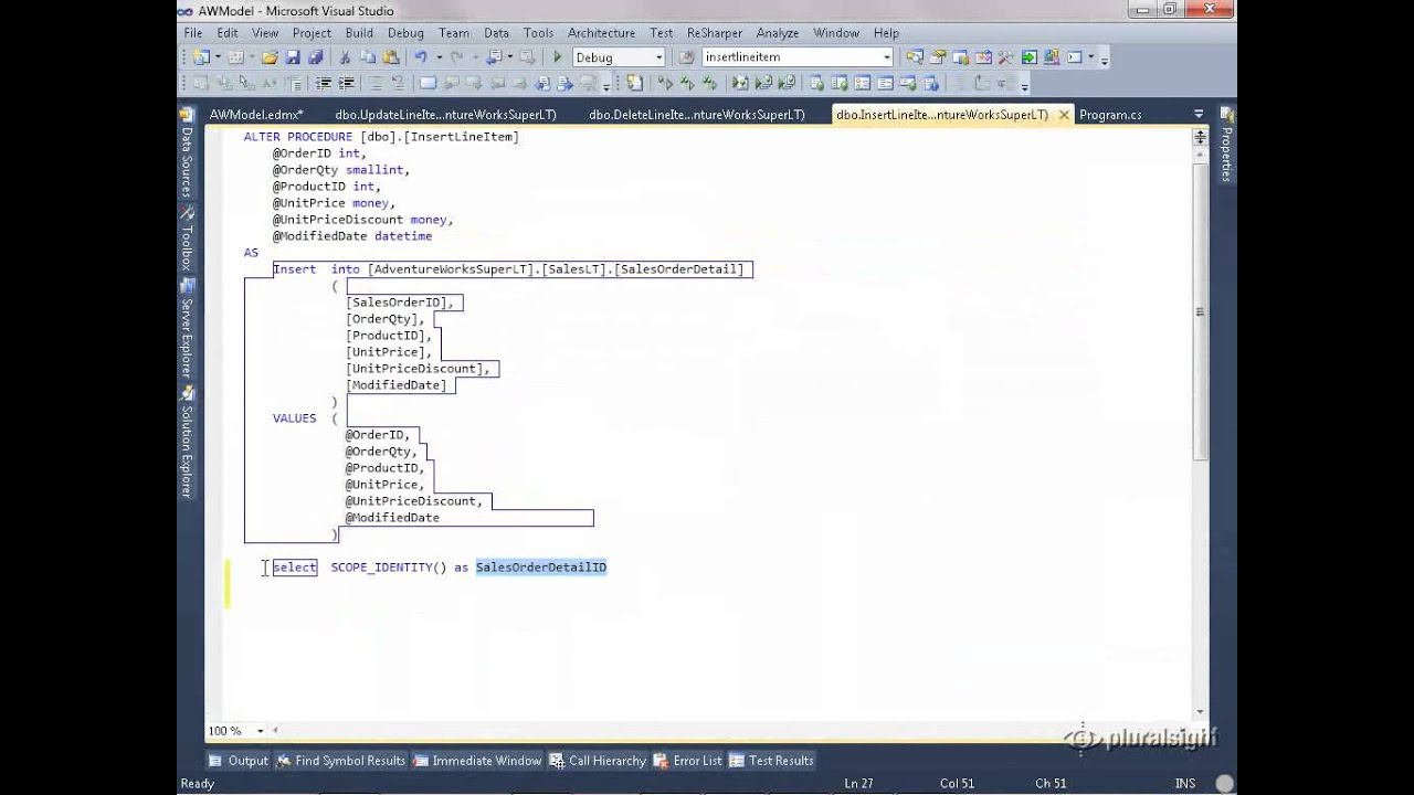 Using Your Own Stored Procedures to Insert, Update and Delete Entities in  Entity Framework wmv