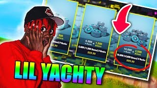 Lil Yachty plays FORTNITE for the FIRST MAL! ( He spends directly 100 Euros for 10,000 VBucks... ) 😂😂