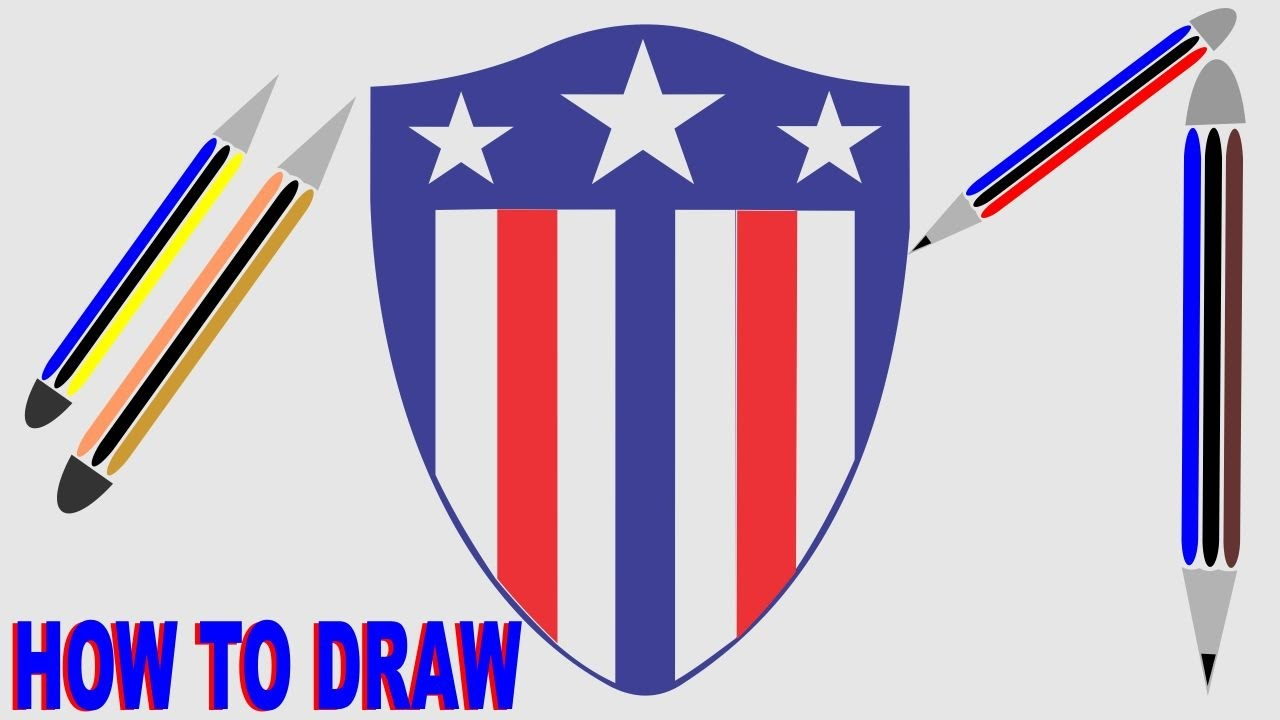 Captain America Shield Drawing: How To Draw Captain America's Shield Logo Marvel