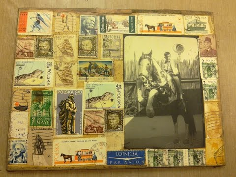 Vintage Photo and Postage Stamps Collage Panel:  Preserving History