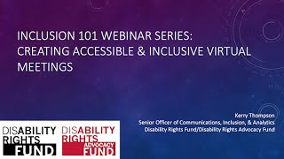 Inclusion Webinar #3: Creating Accessible & Inclusive Virtual Meetings