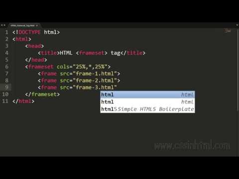 HTML Frameset Tag