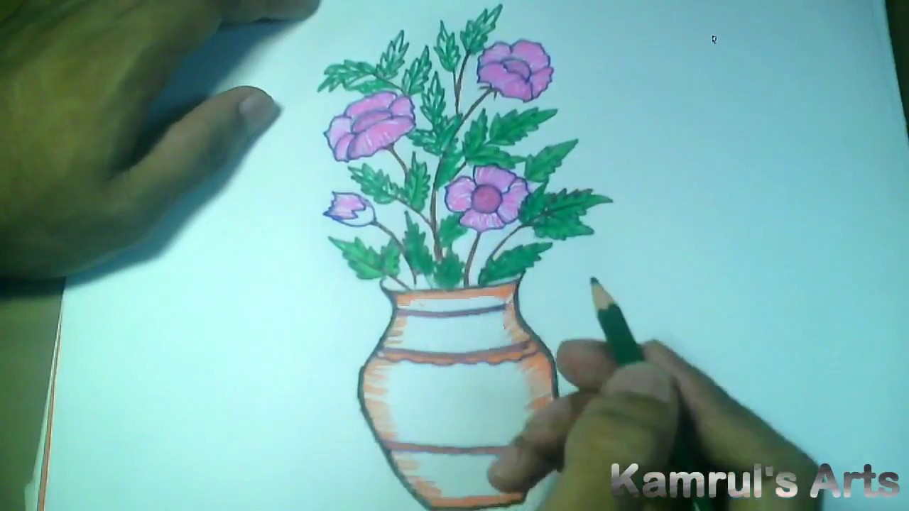How To Draw A Flower Vase Easy And Simple Way Youtube