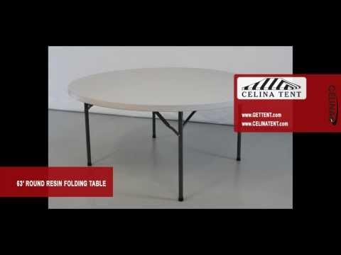 "Round Resin Folding Table - 63"" Diameter"