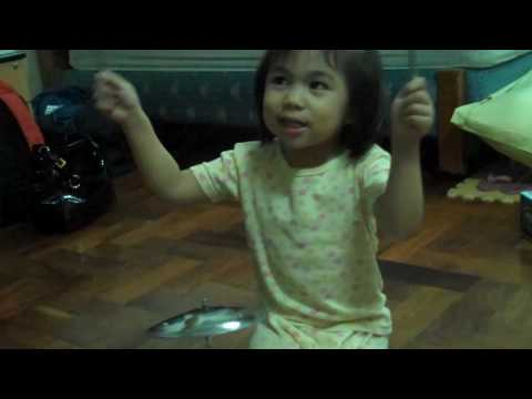 Miki rocking out on drums - Sound of Music