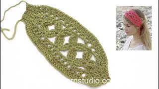 How to crochet the head band in DROPS 190-8