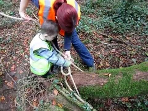 Putting up a rope swing Forest School