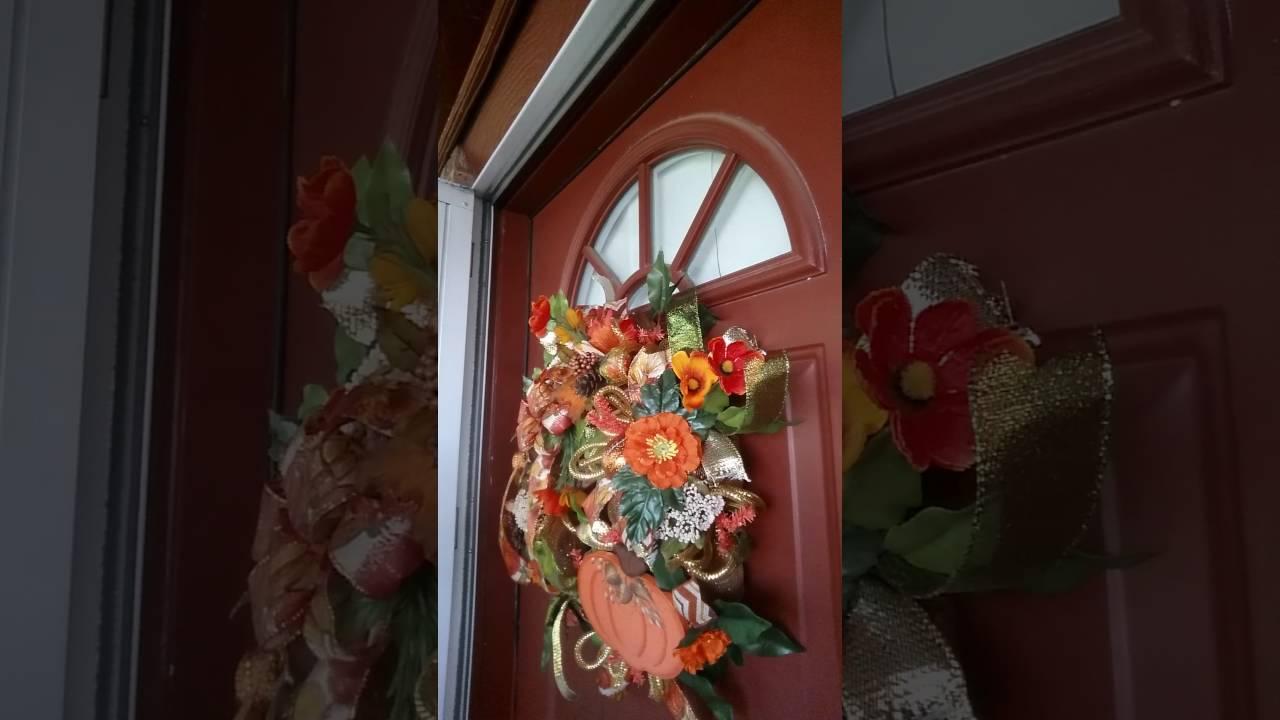Storm Door Wreath For Fall Video Youtube