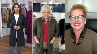 Belle by Kim Gravel Feather Knit Open Front Long Cardigan on QVC