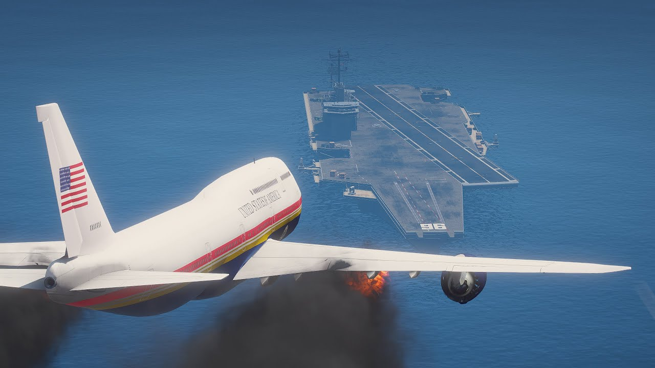 Biden's 747 Emergency Landing On Aircraft Carrier After Engines Explode | GTA 5
