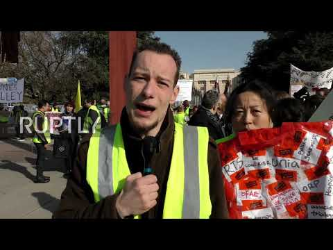 Switzerland: 'Yellow Vests' rally in front of UN office in G