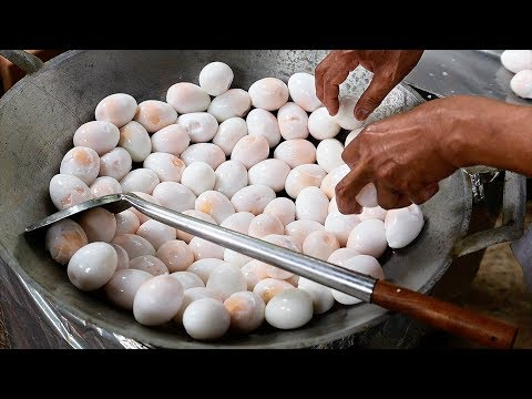 Thai Food - GIANT FRIED DUCK EGGS Aoywaan Bangkok Thailand