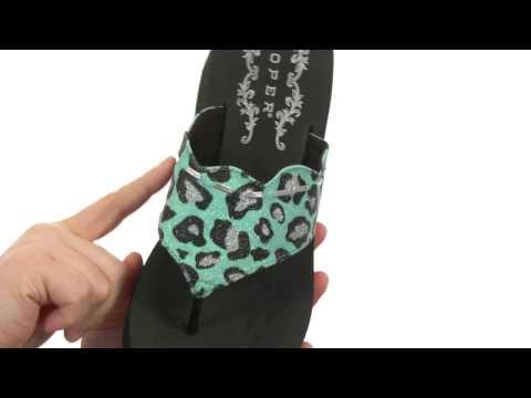 Roper Glitter Leopard Print Wedge Sandal SKU:#8366976
