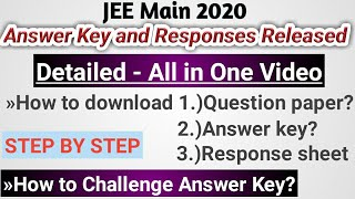 JEE Main 2020 Answer key & Response sheet released by Nta | How to Download answer key, Response she
